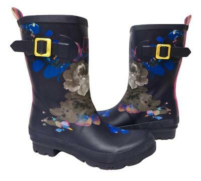 New NIB Joules Navy Blue Pink Floral Rubber Molly Mollywelly Rain Boots Rainboot • 47.99$