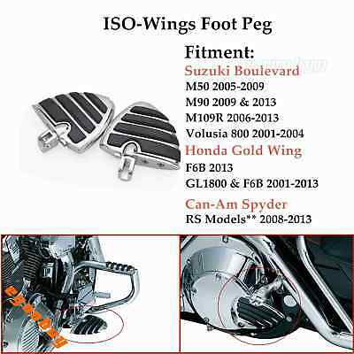$51.15 • Buy Motorcycle Highway Wing Foot Rests Foot Pegs Chrome For Suzuki Boulevard M109R
