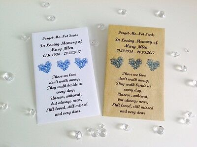 £2.50 • Buy 10 Personalised Forget Me Not Seed Favour Packets Envelopes Funeral Memorial