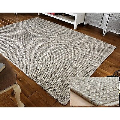 Small - Large Thick Light Grey Pebbles Bobbles Bobbly 100% Wool 3d Rug Clearance • 139.79£