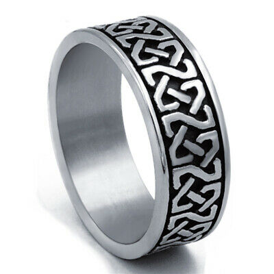 $9.99 • Buy 8mm Men's Stainless Steel Ring Band Celtic Knot Silver Black Jewelry Size 8-15