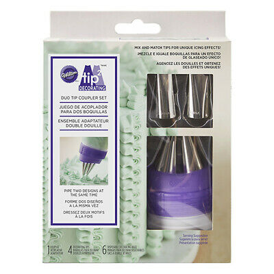 £11.49 • Buy Wilton Duo Tip Coupler Set For Piping Icing Decoration Incl. 4 Nozzles & Bags