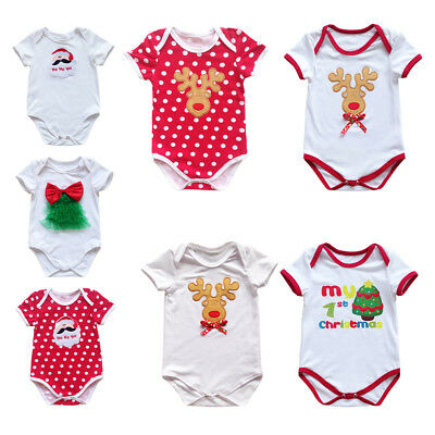 AU8.05 • Buy Christmas Newborn Baby Romper Bodysuit Outfit Costume Boy Girl One Piece Clothes