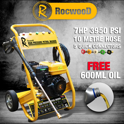 £269.99 • Buy RocwooD Petrol Pressure Washer 3950 PSI 7HP 10 Litre High Power Jet FREE Oil