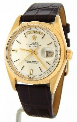 $ CDN10042.77 • Buy Mens Rolex Day-Date President 18K Yellow Gold Watch Brown Band Silver Dial 1803