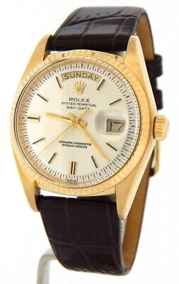$ CDN8881.62 • Buy Mens Rolex Day-Date President 18K Yellow Gold Watch Brown Band Silver Dial 1803