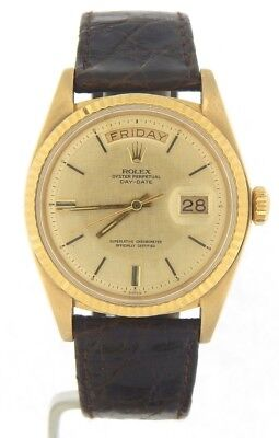£5820.54 • Buy Mens Rolex Day-Date President 18K Yellow Gold Watch Linen Dial Brown Band 1803