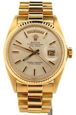 $ CDN18127.41 • Buy Mens Rolex Day-Date President 18K Yellow Gold Watch Silver Dial Vintage 1803