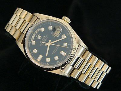 $ CDN18108.72 • Buy Mens Rolex Day-Date President 18K Yellow Gold Watch Black Diamond Dial 18038