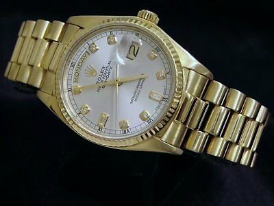 $ CDN18610 • Buy Mens Rolex Day-Date President 18k Yellow Gold Watch Silver Diamond Dial 18038
