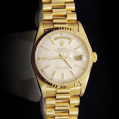 $ CDN22911.04 • Buy Mens Rolex Day-Date President Solid 18k Yellow Gold Watch White Stick Dial 18238