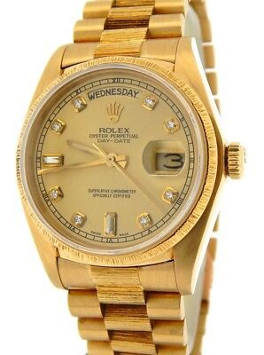 $ CDN18985.96 • Buy Mens Rolex Day-Date President 18k Gold Watch Bark Champagne Diamond Dial 18078