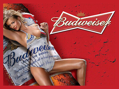 Budweiser Girl, Retro Metal Plaque/Sign Pub, Bar, Man Cave Novelty Gift • 10.45£