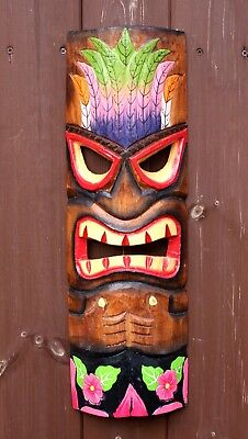 £17.90 • Buy Wooden 50cm Tiki Bar Mask Accessories Hand Carved Painted Tiki Bar Decoration