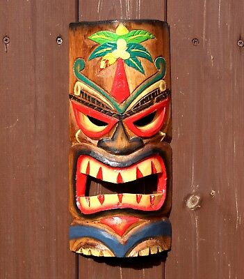 £12.95 • Buy Tiki Mask Wooden 30cm Wall Hanging Handcarved Painted Bar Garden Pub Decoration