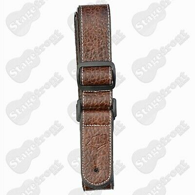 "AU25 • Buy Xtr Leather Style  1½"" Ukulele Strap Chrome End Pin Brown W/ White Stitching"