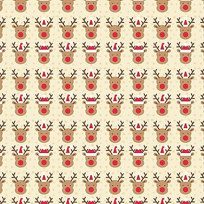 £2.95 • Buy Printed Bow Fabric A4 Christmas Rudolph Red Nosed Reindeer CM9 Make Glitter Bows