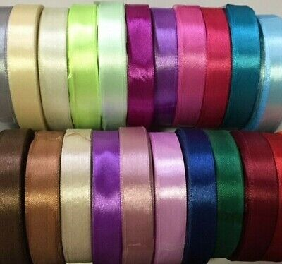 BUY 3 GET 3 FREE 22 Mtrs 15 Mm Satin Ribbon By Roll - Various Colour - UK SELLER • 2.79£