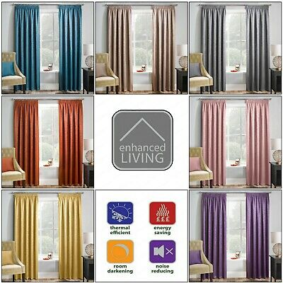 £23.99 • Buy MATRIX Thermal Woven Blockout Lined Curtains 3  Pencil Pleated Headed Tape Top