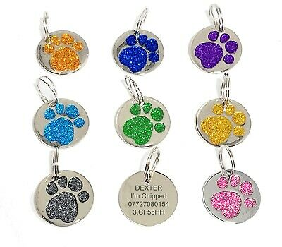 Dog Cat Pet Tag Personalised Engraved Collar ID Tags 25mm Glitter Paw Print UK • 2.50£