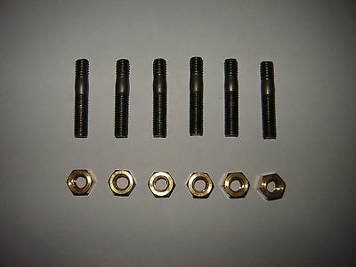 MG MGB Exhaust Manifold Studs And Brass Nuts Set Of 6 New * UK FREEPOST * • 5.39£