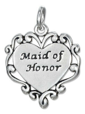 $14.95 • Buy Maid Of Honor Engravable Heart 925 Solid Sterling Silver Charm Pendant Wedding