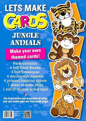 Complete Lets Make Cards Birthdays  Childrens EASY Decoupage KIT  JUNGLE  • 4.99£