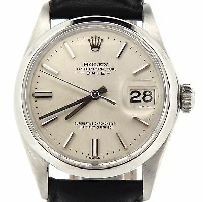 $ CDN3831.58 • Buy Mens Rolex Date Stainless Steel Watch Black Leather Strap Band Silver Dial 1500