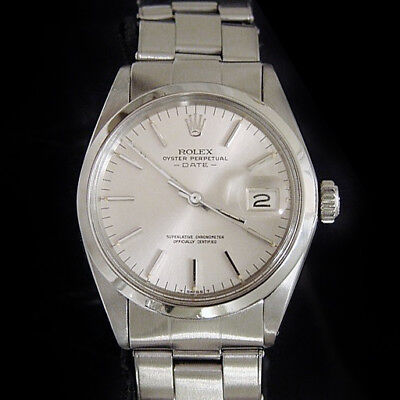 $ CDN4536.40 • Buy Mens Rolex Date Stainless Steel Watch Domed Bezel Oyster Rivet Band Vintage 1500