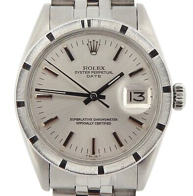 $ CDN3831.22 • Buy Mens Rolex Date Stainless Steel Watch Engine-Turned Index Bezel Silver Dial 1501