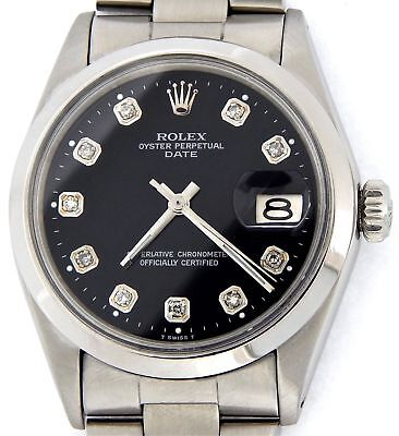 $ CDN4086.64 • Buy Mens Rolex Date Stainless Steel Watch Black Diamond Dial Oyster Style Band 1500