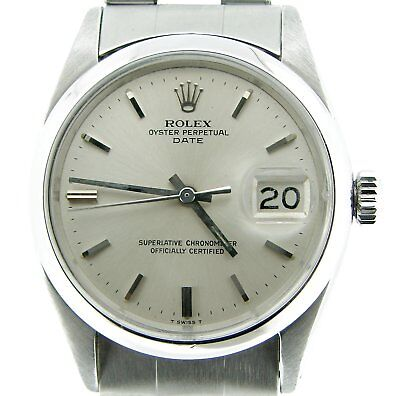 $ CDN3958.93 • Buy Mens Rolex Date Stainless Steel Watch Oyster Rivet Band Silver Dial Vintage 1500