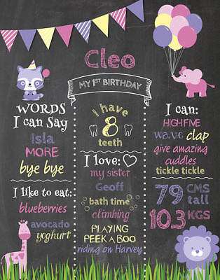 AU15 • Buy Birthday Chalkboard Poster Party 1st  First GIRL Animals Elephant