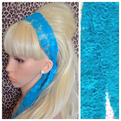 TURQUOISE BLUE LACE 50s VINTAGE STYLE HEADBAND HAIR SCARF SELF TIE BOW 80s RETRO • 2.99£
