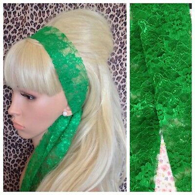 EMERALD GREEN LACE 50s VINTAGE STYLE HEADBAND HAIR SCARF SELF TIE BOW 80s RETRO • 2.99£