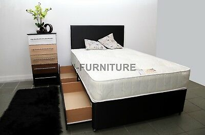 2ft6 3ft 4ft 4ft6 5ft Divan Bed Base Cream Black Storage Headboard Mattress.SALE • 130£