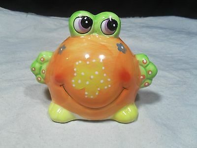 New ~ Ceramic Orange Big Belly Frog Bank   • 3.85£