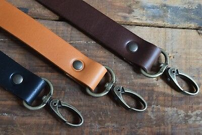 Replacement Leather Shoulder Bag Strap19mm Wide 900mm Long, Antique Brass Clasps • 10.80£