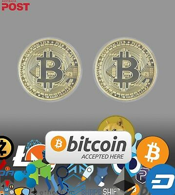 AU8 • Buy Gold Bitcoin X2 & Crypto Sticker Pack. Novelty Coin Set.