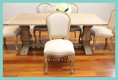 AU253 • Buy *In Stock Now!* NEW French Provincial Oak And Linen Dining Chair