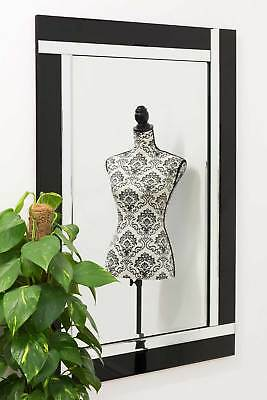 £90.19 • Buy Large Wall Mirror Modern Black And Silver Bevelled Venetian 3Ft11x2Ft7 120x80cm