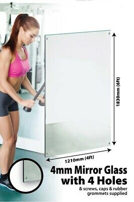 £119.99 • Buy Large Wall Mirror 6Ft X 4Ft 183 X 121cm Glass With 4 Holes Home Gym Dance Studio