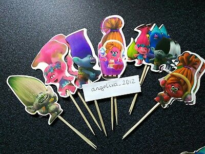 £2.59 • Buy 12 X Trolls Cuppcake Picks / Cake Toppers Birthday Cake Flags Decorations 247995
