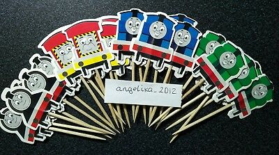 12 X Thomas & Friends Cake Picks / Cupcake Toppers Henry , Emily, Birthday Flags • 2.75£