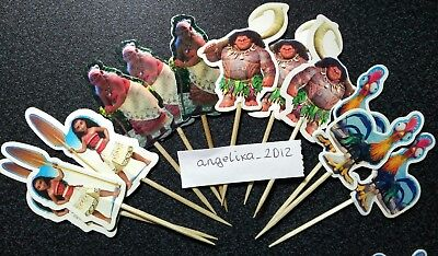 £2.75 • Buy 12 X Moana Style Cake Picks / Cupcake Toppers Birthday Cake Flags Decorations 24