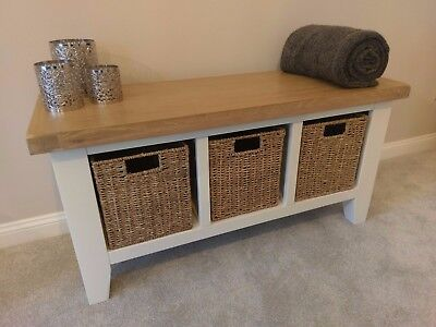 £250.27 • Buy White Painted Oak Hall Bench / Monks Hallway Seat / Porch Shoe Storage Cabinet