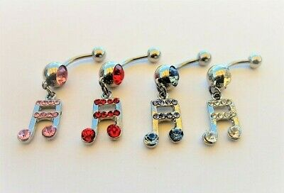 Music Note Dangle Belly Bar 316l Steel Choose Colour Navel Belly Button Ring  • 2.97£