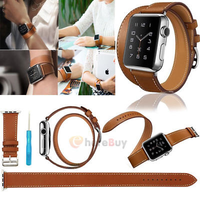 AU15.44 • Buy Genuine Leather Watch Band Double Tour Bracelet Strap For IWatch 38mm/42mm