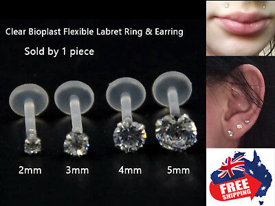 AU4.45 • Buy 1pc Acrylic 16g Labrets Tragus Studs Rings With 2-5mm CZ Gem Monroe Lip Earrings