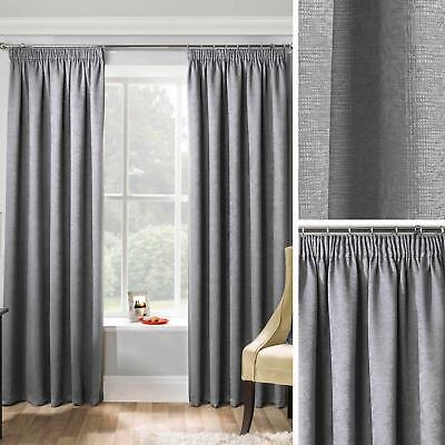 £16.95 • Buy Grey Thermal Curtains Block Out Tape Top Ready Made Pencil Pleat Curtain Pairs